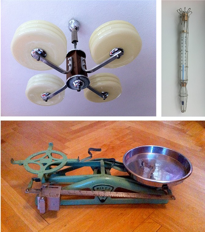 Livingroom Chandelier, Thermometer, Kitchen Scale