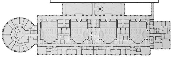 Courthouse floor plan from my time at MGA, designed for ease of navigation