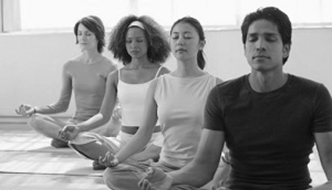 people-practicing-mindfulness-meditation-b&w